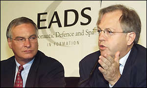 Rainer Hertrich, left, Philippe Camus, co-chief executives of EADS