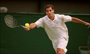 Sampras stretches for a volley
