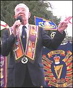 Harold Gracey speaking at Drumcree