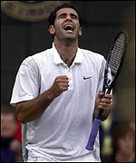 Pete Sampras celebrates