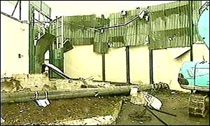 The bomb damaged RUC base in Stewartstown