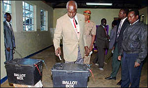 President Moi voting in a past election