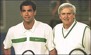 Roy Emerson with Pete Sampras at this year's Australian Open