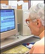 Pensioner using the internet