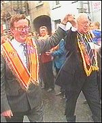 David Trimble and DUP leader Ian Paisley march in Portadown in 1995