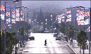 The deserted Shankill Road, a major protestant area of Belfast