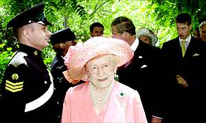 Grand entrance: The Queen Mother arrives for her special tribute