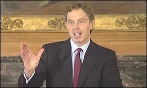 Tony Blair addresses Downing Street news conference