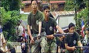 Thai village defence unit in action