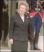 Baroness Thatcher with handbag