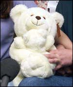 Teddy bear presented by the police