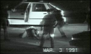 Video footage of King and  LAPD police officers