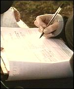 parent's hand signing petition