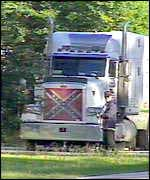 Lorry, with picture of Confederate flag on the front