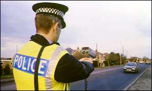 Police officer operates a speed gun