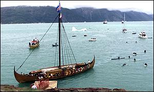 Arrival of the replica Viking ship in Greenland
