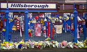 Floral tributes placed outside the Hillsborough stadium