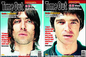Time Out's two covers: Liam (left) and Noel (right)
