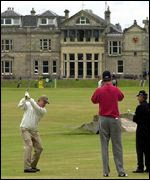Jack Nicklaus on the 18th tee