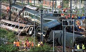 Scene of the Paddington train crash