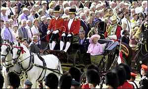 Queen Mother and Prince Charles in carriage