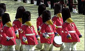 The Wombles dressed as soldiers