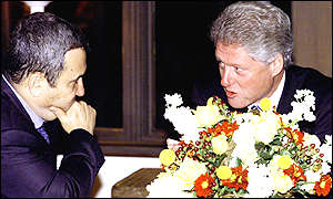Israeli Prime Minister Ehud Barak and President Clinton at Camp David