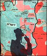 Map of Jerusalem with shadow of Orthodox Jew