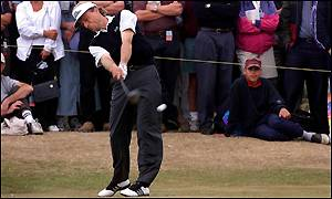 Germany's Bernhard Langer tees off at the fifth