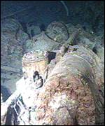 Titanic wreckage on the sea bed