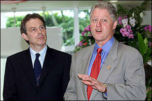 Blair and Clinton announce the new pledges