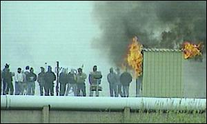 A loyalist rooftop protest at the Maze in 1997