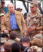 Dick Cheney and Colin Powell in Saudi Arabia, 1991