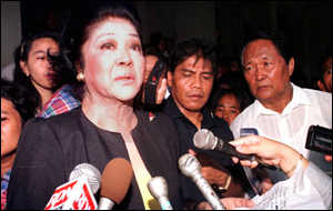 image: [ Tearful farewell: Imelda Marcos tells reporters she will stand down as a presidential candidate ]