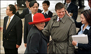 US Secretary of State, Madeleine Albright, arrives in China