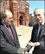 [ image: Ron Davies (left) at the announcement of the assembly's site]