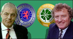 image: [ Celtic boss Wim Jansen, right, might be smiling but Rangers' boss Walter Smith knows he still has a chance ]