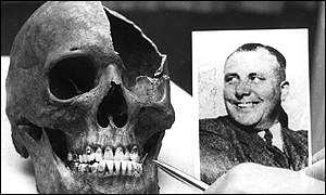 skull and picture of Bormann