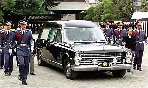 Hearse carrying the late Empress Dowager Nagako