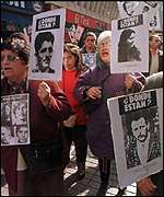 Anti Pinochet demonstrators in Santiago