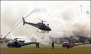 Helicopters around the crash