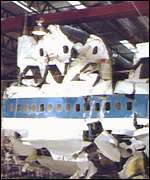 The wereckage of the Lockerbie airliner
