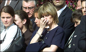 Mourners at the Concorde crash memorial