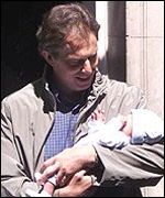 Tony Blair with baby son Leo