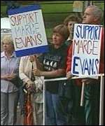 Supporters outside Abergavenny magistrates court