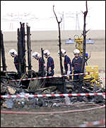 Fire fighters at the crash site