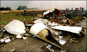 Debris from the crashed Air France Concorde