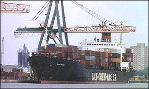 Cargo ship unloading in dock