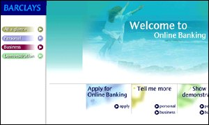 Barclays Online Banking website