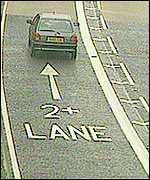 High occupancy vehicle lane in the UK